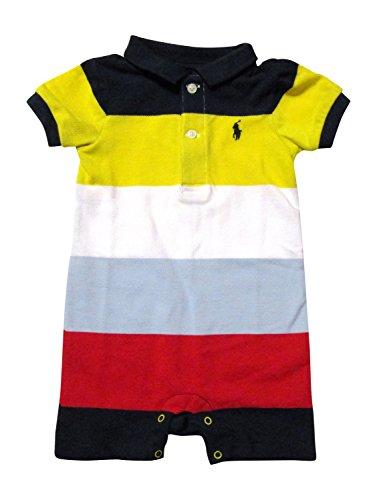 Ralph Lauren Baby Boy Pique Cotton Wide Stripes Body Suit (1 Piece) (9 Months, Navy / Yellow / White / Red / Multi) (Ralph Lauren Clothing compare prices)