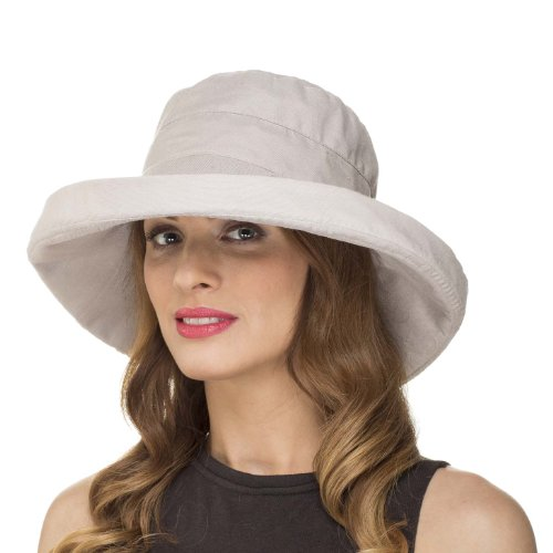 Ladies Womens Summer Wide Brim Shapable Foldable Packable Sun Hat LS1304 (Stone)