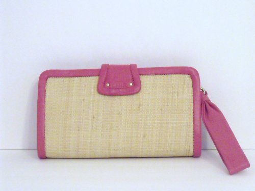 Coach   Coach Parker Bright Pink Leather Straw Clutch F42474 Purse Handbag Wristlet NWT Authentic Retail $208