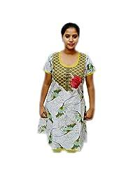 Odishabazaar Women's Cotton White Floral Printed Kurta M