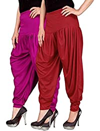 Navyataa Women's Lycra Dhoti Pants For Women Patiyala Dhoti Lycra Salwar Free Size (Pack Of 2) Magenta & Red
