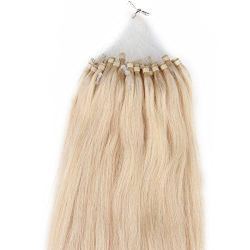 "Beauty7 18"" 20"" 22"" 24"" Loop Micro Ring Beads Tipped Remy Human Hair Extensions 100G 100S 1G/S #24 Natural Blonde (20"" 1G/S) front-828910"