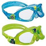 Aqua Sphere KIDS Seal 2 Pack Swim Goggles, Aqua + Lime (Color: Aqua & Lime - Clear Lens)
