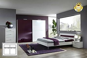 Komplett Schlafzimmer 1937 weiß/ brombeere Schwebeturenschrank 180cm, Bett 140x200cm
