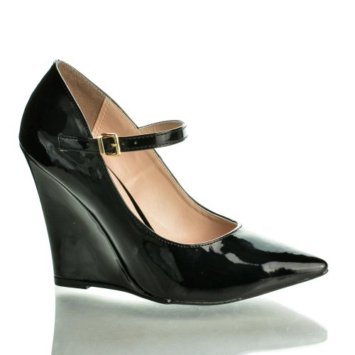Chloe02 Black Pat Pointed Toe Ankle Strap Office Dress High Wedge Heel Sandals-7.5 front-486907