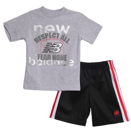 New Balance Little Boys' 2 Piece Athletic Grey T-Shirt Mesh Basketball Shorts