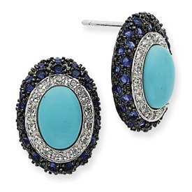 Sterling Silver Turquoise & Blue CZ Post Stud Earrings