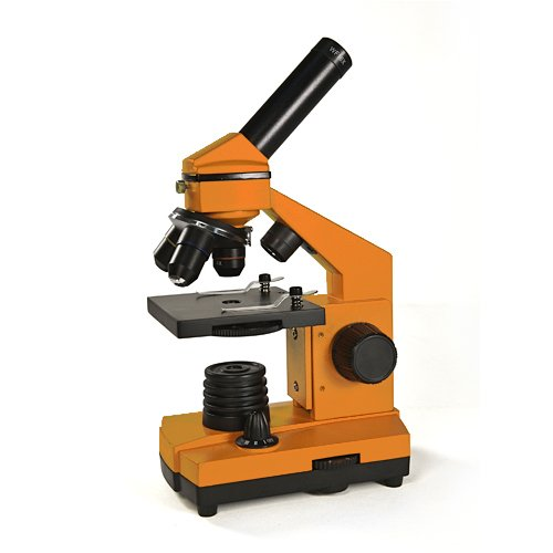 Levenhuk 2L Ng Orange Microscope Monocular Three Objectives 64-640X Bright Color