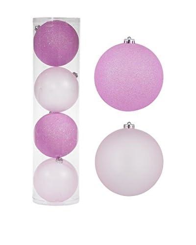 Christmas Chalet  Set Decorazione Da Appendere 4 pezzi Ø15.Cm Opaco/Glitter Rosa