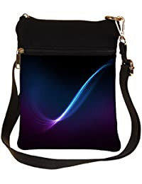 Snoogg Blue And Purple Ray In Black Background Cross Body Tote Bag / Shoulder Sling Carry Bag