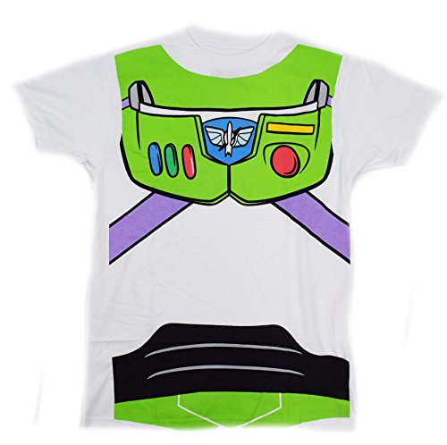 [Disney Pixar Toy Story Buzz Lightyear Costume T-shirt (Large, White)] (Buzz Lightyear Shirt Costume)