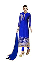 Suchi Fashion RoyalBlue Embroidered Georgette Dress Material