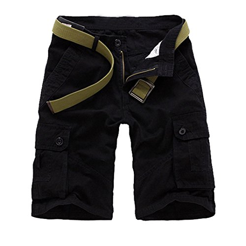 Panegy Mens Casual Canvas Utility Work Shorts Cotton Short Pants Belted Black Size 31
