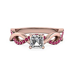 1 Carat Asscher Cut Diamond & Pink Sapphire Infinity Engagement Rings GIA 14K Gold (E Color,VVS1 Clarity)