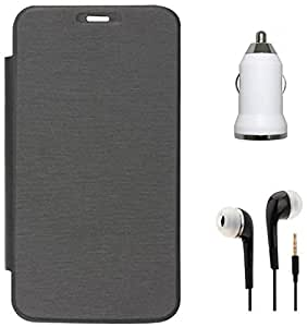 Tidel Black Flip Cover For HTC Desire 816 With 3.5mm Jack Handsfree Earphone & Car Charger Adapter