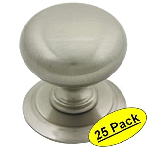 Kitchen Cabinet Knobs With Backplates Cosmas 6542SN Satin Nickel Round Cabinet Hardware Knob W Backplate