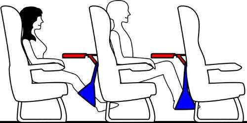 快適空の旅フットラック  FOOT RACK  (ブラックケース)  海外旅行の飛行機内便利グッズ    フットレスト  (機内持ち込み座席前のテーブルに下げて使用) トラベルグッズ ブラック