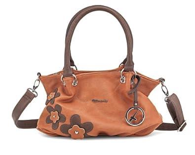 TAMARIS Handtasche LUNA, Handbag, Applikationen, Metallemblem, 4 Farben: jade grün, rose, papaya braun oder weiss, Farbe:papaya