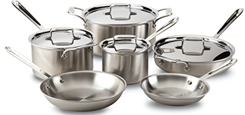 All-Clad BD005710-R D5 Brushed 18/10 Stainless Steel 5-Ply Bonded Dishwasher Safe Cookware Set, 10-Piece, Silver (All Clad Pan Set compare prices)