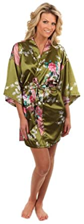 Anntourage Women's Kimono Robe, Peacock Design-Olive-Small/Medium, Short