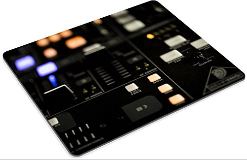 Liili Mousepad Illuminated lights on the console of a DJ deck at night for mixing and fading Photo 16132812