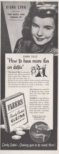 1946 Fleers Candy Coated Gum: Diana Lynn, Frank H Fleer Corp Print Ad