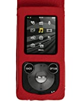 igadgitz Rouge Étui Housse Cuir pour Sony Walkman NWZ-E384 avec Mousequeton et Prot. D'écran