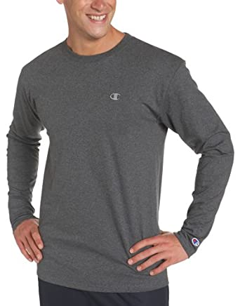 Champion Men's Long Sleeve Tee, Granite Heather, Medium