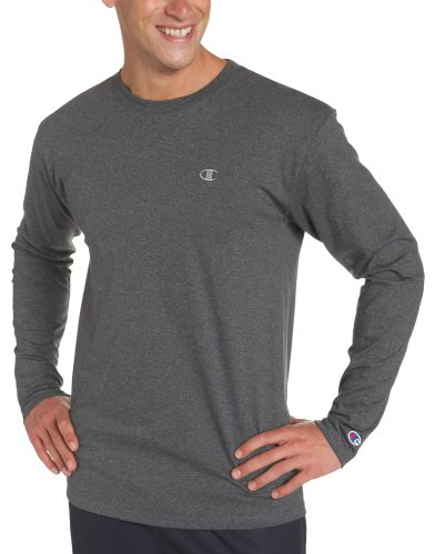 Champion Men's Long Sleeve T-Shirt, Granite Heather, Medium