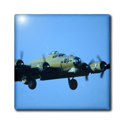 3dRose ct_91314_6 B-17G Flying Fortress in air, war plane - US24 BFR0102 - Bernard Friel - Glass Tile, 6-Inch