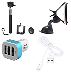 High Quality Selfie Stick , Mobile Holder , 5V/2.1 A Tripple (3) Jack USB Car Charger , USB Cable Compatible with Blackberry Z10