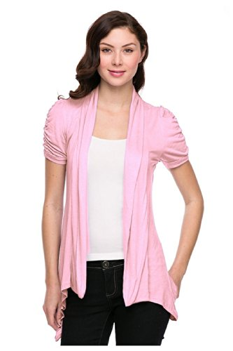 G2 Chic Women's Solid Ruched Short Sleeve Open Cardigan(TOP-CGN,LPK-S)