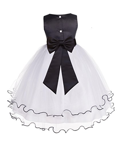 Wedding Pageant Butterflies Rattail Edge Flower Girl Dress with Tiebow 801T