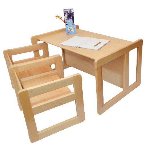 3 en 1 muebles para ni os de madera de la haya ligera conjunto de tres piezas dos mesas - Mesas madera ninos ...