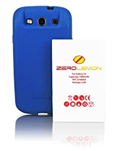 [180 days warranty] ZeroLemon Samsung Galaxy S III 7000mAh Extended Battery + Free Blue Extended TPU Full Edge Protection Case(Compatible with Samsung Galaxy S III GT-i9300, AT&T Samsung Galaxy S3 Samsung i747, Verizon Samsung Galaxy S3 Samsung i535, T-mobile Samsung Galaxy S3 Samsung T999, U.S. Cellular Samsung Galaxy S3 R530, and Sprint Samsung Galaxy S3 Samsung L710) ***NFC for S Beam and Google Wallet***- WORLD'S HIGHEST S3 BATTERY CAPACITY **USA PATENT PENDING DESIGN**- Blue