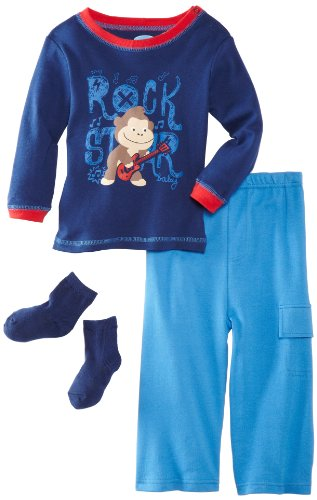 Bon Bebe Baby-Boys Infant Rock Star 3 Piece Pant Set, Navy/Blue/Red, 12 Months front-269864