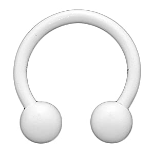 "14 Gauge 3/8"" - White Matte Finish Steel Circular Horsehoe Barbell"