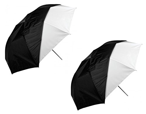 """Westcott 2 Pack 43"""" Optical White Satin Collapsible Umbrella With Removable Black Cover"""