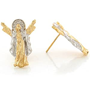 14k Two Tone Real Gold 2.14cm x 1.55cm Jesus Christ Savior Religious Post Earrings