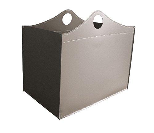 WOODBAG: borsa in cuoio portalegna e/o pellet, in cuoio rigenerato colore Tortora, con ruote gommate.