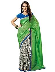 Prafful Silk Bhagalpuri Printed Saree With Unstitched Blouse - B00KNURYME
