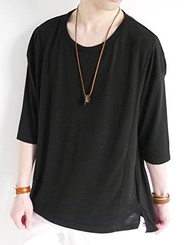 (モノマート) MONO-MART ヘムライン ドルマン カットソー Uネック 5分袖 サマー Tシャツ モード 爽やか 軽快 デザイナーズ メンズ ブラック ワンサイズ