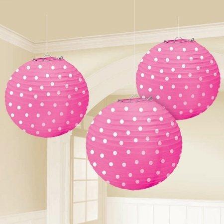 "Amscan Cute Bright Polka Dot Printed Round Party Paper Lanterns, 9-1/2"", Pink"