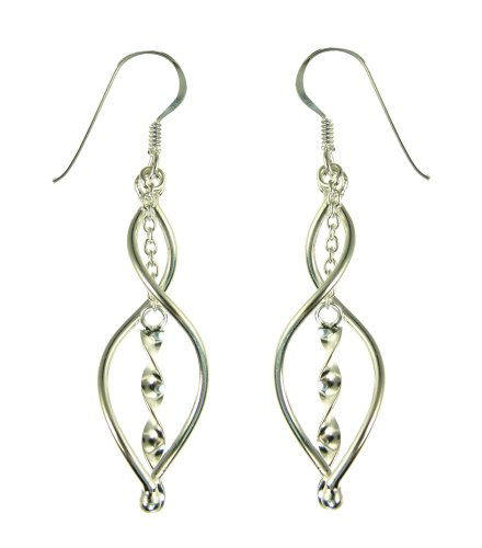 Silver Ladies' Open Twist with Central Sprial Twist Hook Wire Drop Earrings