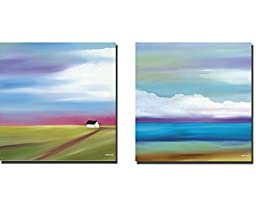 Prairie Abstract 2 & 8 by Mary Johnston 2-pc Premium Gallery-Wrapped Canvas Giclee Art Set (Ready to Hang)