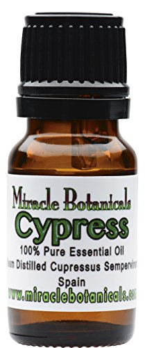 Miracle Botanicals Wildcrafted Cypress Essential Oil - 100% Pure Cupressus Sempervirens - 10ml or 30ml Sizes - Therapeutic Grade 10ml