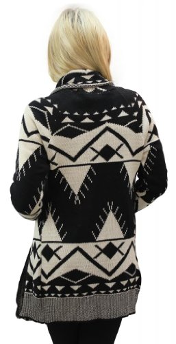 Girltalkfashions Women Aztec Long Sleeve Chuncky Open Cardigan Large Cream/Black
