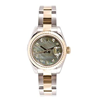 Rolex Ladys New Style Heavy Band Stainless Steel & 18K Gold Datejust Model 179173 Oyster Band Fluted Bezel Tahitian Mother Of Pearl Diamond Dial