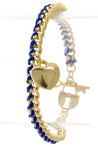 TRENDY FASHION HEART CHARM WITH CURV BRACELET BY FASHION DESTINATION | (Blue) at Amazon.com