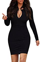 Wotefusi Women's Keyhole with Metal Buckle Open-Chest Bodycon Pencil Party Dress